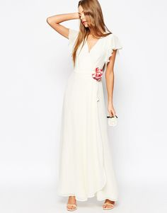 Image 1 of ASOS WEDDING Corsage Wrap Maxi Dress