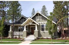 craftsman style. Game changer! Shingles instead of brick or stone. So much cheaper