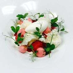 #Honey yogurt, #strawberry pudding , yogurt Panna cotta, compressed strawberries, yogurt sponge cake. #Meringue,
