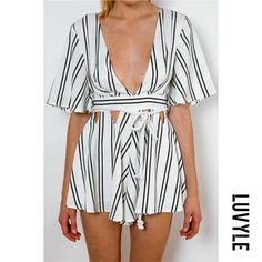 228b83458efb Sexy Ruffle Sleeve Plunge Cut Out Rope Waist Stripe Summer Romper