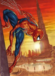 Spider-Man in Dubai! by Marco Santucci Pro Spider-Man All Spiderman, Spiderman Kunst, Amazing Spiderman, Marvel Comics Art, Marvel Heroes, Marvel Avengers, Cry Anime, Anime Art, Comic Books Art