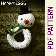 Baby's First Snowman Rattle Amigurumi Crochet PDF by HamAndEggs, $0.99