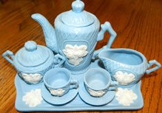 10 Piece Exquisitely Detailed Mini Blue Tea Set by ZiggyzAttic