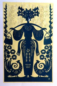 . Russian Folk, Russian Art, Cut Out Art, Polish Folk Art, Ukrainian Art, Simple Acrylic Paintings, Fantastic Art, Illustrations, Paper Cutting