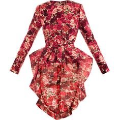 Giambattista Valli Couture Carnation-print smoking jacket ($5,606) ❤ liked on Polyvore featuring outerwear, jackets, dresses, coats, ruffle jacket, print jacket, long sleeve jacket, red smoking jacket and pattern jacket