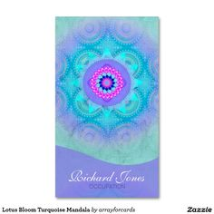 Jewel star mandala business card jeweler business cards lotus bloom turquoise mandala business card this beautiful mandala in warm turquoise pink and lavender reheart Gallery
