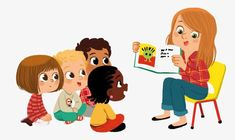 Teach children PNG and Clipart People Illustration, Illustrations And Posters, Children's Book Illustration, Character Illustration, Kid Character, Character Design, Kids Reading Books, Kids Background, Cartoon Kids