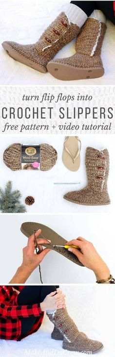 UGG-style, modern crochet boots pattern and video tutorial using flip flops. Super comfy slippers or outdoor shoes! Adult women's sizes 5-10