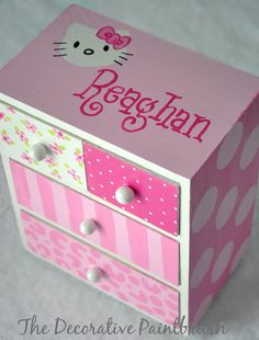 Jewelry Box Painted Jewelry Box Personalized by TheDecorativeBrush, $22.00