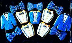 Suit and Tie Theme Cookies. Bow Tie, Suspenders, Tuxedo