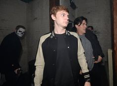 "The American Horror Story Guys Giggle and Scream Their Way Through a Haunted House Finn Wittrock: ""I should not have done this."" Evan Peters: ""Nope."" Guy in the Background: ""Holy sh*t, can I have a selfie?"""