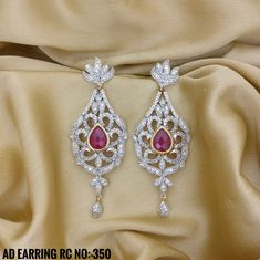 Ruby and White Stone With Gold Plating. Rama Creations Manufacture & Wholesaler of Imitation Bridal Jewellery in India. American Diamond Jewellery, Diamond Jewelry, Gold Jewelry, Diamond Earrings, Colour Stone, Color, Diamond Party, Imitation Jewelry, Bridal Jewellery
