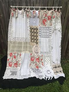 Shower Curtain Shabby Styled Vintage Crochet Vintage Fabric Floral curtain Home Decor Bathroom Decor Cottage Chic – 2019 - Fabric Diy Shabby Chic Bedrooms, Shabby Chic Homes, Shabby Chic Decor, Shabby Vintage, Vintage Linen, Cortinas Country, Rideaux Shabby Chic, Shabby Chic Shower Curtain, Shabby Chic Curtains