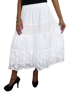 Mogul Womans Skirt White Tiered Solid Bohemian Cotton Skirts at Amazon Women's Clothing store: