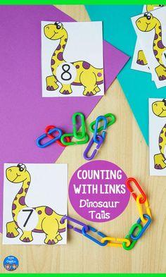 Math Activities For Kids, Counting Activities, Preschool Lesson Plans, Free Preschool, Alphabet Activities, Motor Activities, Preschool Activities, Dinosaur Tails, Math Manipulatives