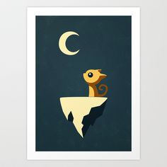 Moon+Cat+Art+Print+by+Freeminds+-+$18.72