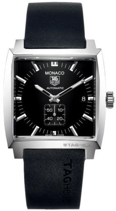 The classic TAG Heuer Monaco II watch in black - still looks idiosyncratically great!