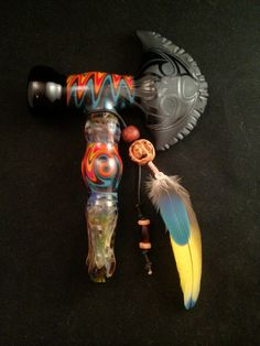 Tomahawk Pipe with Fire and Ice Reversals and Parrot by BoGlass