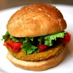 Sweet Potato, Chickpea, and Quinoa Veggie Burger With Roasted Peppers: If you're trying to save on calories, fat, and cholesterol, then veggie burgers are the way to go.