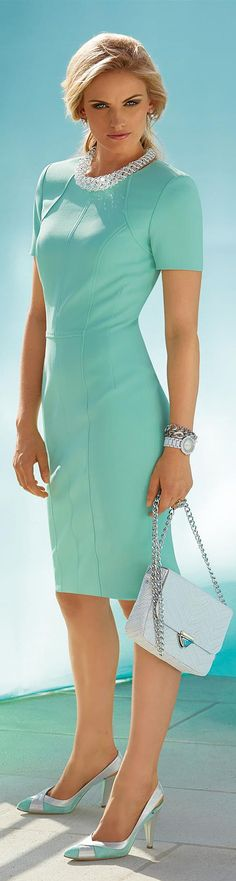Dress in the color mint - green, blue | MADELEINE