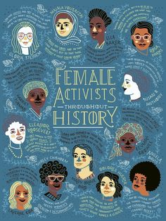 """rachelignotofsky: """" Female Activist Throughout History Poster of the proceeds go to charity These women have fought, organized and protested the inequality they saw around them. This poster celebrates how they helped to create a better future. History Posters, History Quotes, Feminist Af, Feminist Quotes, Feminist Icons, Design Poster, Poster Designs, Poster Ideas, Flyer Design"""