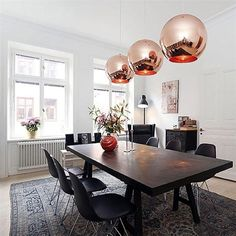 Buy Glass Mirror Ball Ceiling Pendant Light Modern Tom Dixon Lamp Chandelier HNK at Wish - Shopping Made Fun Gold Ceiling Light, Ceiling Lamp Shades, Ceiling Lights, Dining Table Pendant Light, Modern Dining Table, Dining Rooms, Tom Dixon Lampe, Copper Lamps, Gold Bedroom