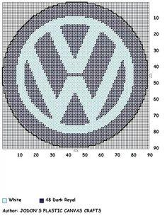 Volkswagen logo Cross Stitch Bookmarks, Mini Cross Stitch, Cross Stitch Patterns, Plastic Canvas Crafts, Plastic Canvas Patterns, Nautical Quilt, Canvas Signs, Knitting Charts, Cross Stitching