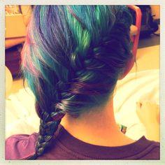 #greenhair #turqouisehair #bluehair #purplehair #pinkhair #braid #colors #coloredhair