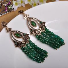 Vintage Green African Beads Big Drop Earrings Women Turkish Max Brincos Jewelry