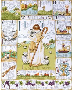 Design Works 23rd Psalm - Cross Stitch Kit. Cross Stitch Kit contains 100% cotton 14 count Aida, embroidery floss, needle and instructions. 16 x 20.