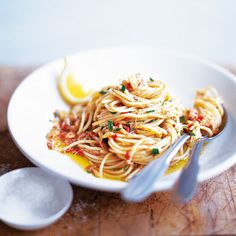 Spaghetti with crab and chilli - Red always had great simple recipes...yum.