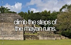 climb the steps of the mayan ruins.