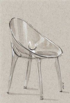 Chair sketch. Another trancparency exercise, took around 30min. This time Starck. @wrenchbone #ChairDrawing