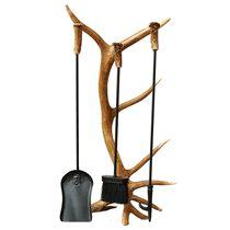 Antler Fireplace Tool Set - 4 pcs