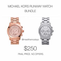 MICHAEL KORS RUNWAY WATCHES BUNDLE Excellent savings! Please see individual watch listings for details + photos. Offers WILL NOT be accepted. Both watches available for individual sale at increased prices. Michael Kors Accessories Watches