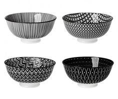 4er Set Schale China, tief, schwarz/weiß - Mit dieser Schale im 4er Set können Sie Ihren Gästen leckere Kleinigkeiten servieren.Material: PorzellanMarke: NANU-NANA