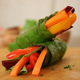 Vegetable Chard Wraps. Make a dressing with Bragg's, spring-onion, garlic and grated ginger instead.