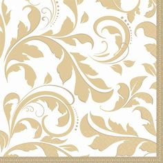 Gold Elegant Scroll Lunch Napkins 16ct