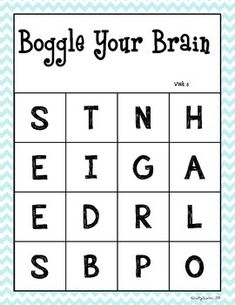 Boggle Your Brain - 40 weeks! Boggle Game, Boggle Board, Dementia Activities, Elderly Activities, Physical Activities, Physical Education, Brain Teasers For Kids, Grammar Games, Early Finishers Activities