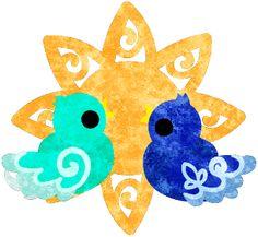 フリーのイラスト素材不思議な模様の可愛い小鳥達と太陽  Free Illustration The cute little birds of mysterious design and sun    http://ift.tt/2jgBrzA