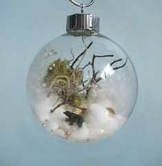 Black Bear Winter Scene Glass Ornament by TheFittingPiece on Etsy, $60.00