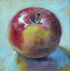 Mac by Diane Mannion Oil ~ 6 x 6 Apple Apple Apple ! Painting