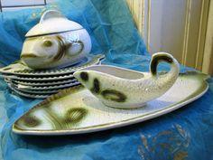 1950s Fish Set – Staffel Keramik – German Stoneware Rare & Beautiful – Fifties Late Art Deco Design – Vintage Mid Century Plates Bowls Tray von everglaze auf Etsy