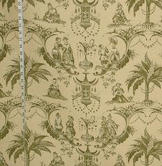 Clarence House Oriental green toile chinoiserie 3 1/3 yard from Brick House Fabric: Novelty Fabric