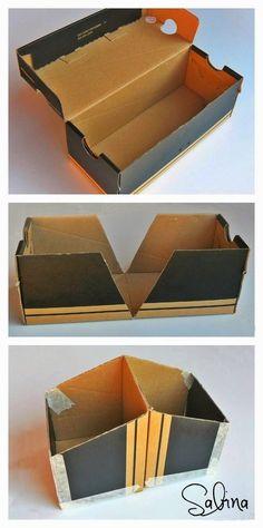 diy storage boxes cardboard Scrapy Land: Altered Shoe Box for Cards Shoe Box Organizer, Shoe Box Storage, Diy Shoe Box, Crafts With Shoe Boxes, Diy Cardboard Furniture, Cardboard Box Crafts, Cardboard Storage, Cardboard Organizer, Cardboard Playhouse