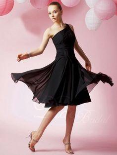 Elegant A-line One-Shoulder Knee-length Chiffon Bridesmaid Dress - Didobridal
