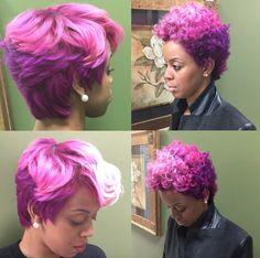 Funky shades of pink via @salonchristol - https://community.blackhairinformation.com/hairstyle-gallery/natural-hairstyles/funky-shades-pink-via-salonchristol/