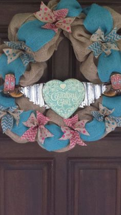 Country Girl Burlap Wreath by DnDDesigns2 on Etsy, $55.00
