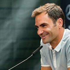 Roger Federer attends press conference at the ATP Mercedes Cup in Stuttgart