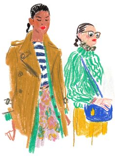 The illustrator Damien Florébert Cuypers draws the models, designers, buyers an. The illustrator D Art And Illustration, People Illustration, Illustrations And Posters, Character Illustration, Fashion Sketchbook, Art Sketchbook, Fashion Sketches, Fashion Drawings, Moda Pastel